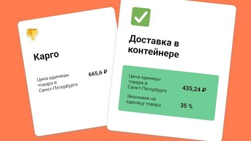 Сравнение цены товара в Санкт-Петербурге при белой доставке и карго