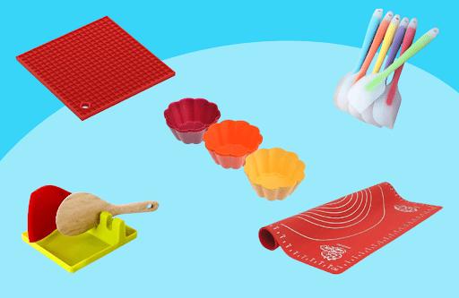 Кухонные мелочи: силиконовые коврики, подставки под горячее, формы для запекания, лопатки